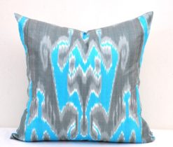 Gray Blue Ikat Pillow