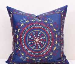 Abstract Design Indoor Outdoor Throw Pillow, Dodger Blue Geometric Motifs Suzani Pillow , Dodger Blue Geometric Motifs Worked Suzani Pillow , blue suzani pillow, Dodger Blue Geometric Motifs Worked Suzani Pillow