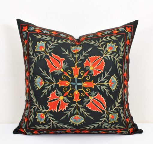 Boho pillow black, Turkish Royal Decor Luxury Suzani Pillow