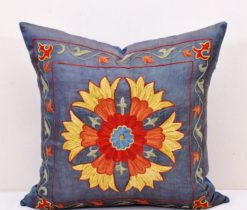 Sttel Blue pillow suzani, Steel Blue Suzani Cushion Accent Pillow