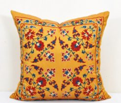yellow suzani cushion