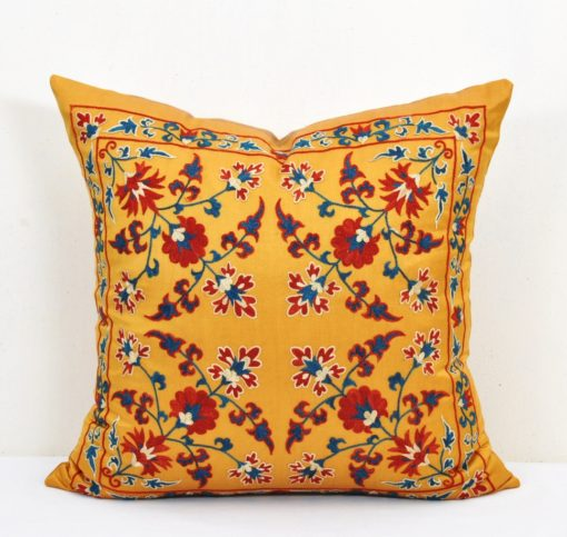 yellow suzani cushion, Golden Decor Accent Toss Suzani Pillow