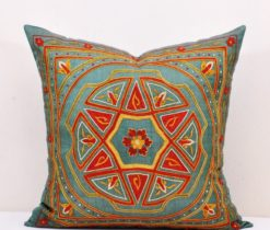 Denim blue suzani pillow, Denim Blue Suzani Cushion
