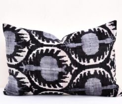 Pomegranate Pattern Ikat Velvet Cushion