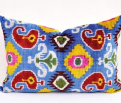Paisley Design Velvet Ikat Multicolor Pillow
