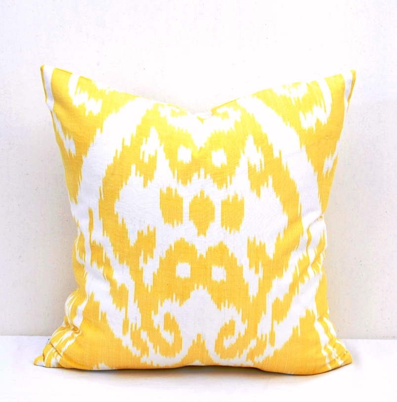 Yellow Decorative Throw Pillows : Yellow Ikat Decorative Throw Pillow Accent - Alesouk Grand Bazaar online shopping