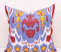 Blue Ikat Throw Cushion