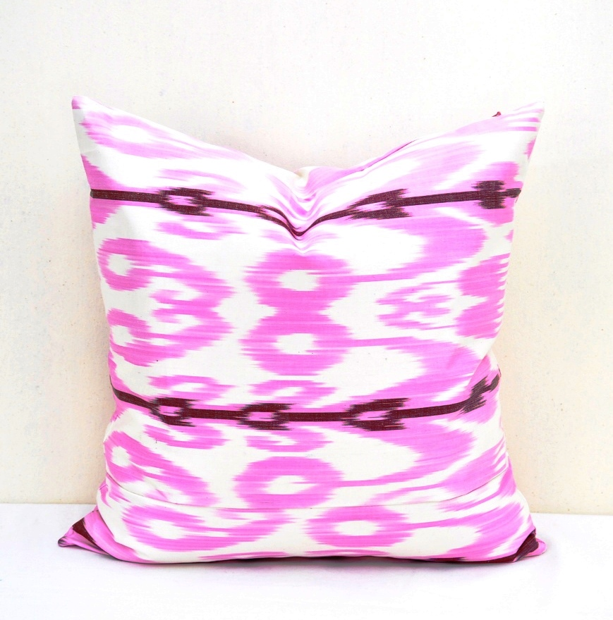 Light Pink Satin Throw Pillows : Light Pink silk ikat pillow - Alesouk Grand Bazaar online shopping