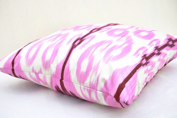 Light Pink Satin Throw Pillows : Light Pink silk ikat pillow