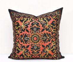 Damask Suzani Black Throw Pillow