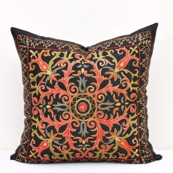 Black red suzani pillow