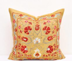 Yellow gold suzani cushion