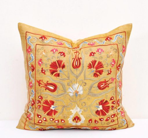 Handmade Embroidery Home Decor Pillow, Yellow gold suzani cushion
