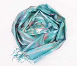 Blissful Pure Silk Home Scarf Wrap, Green silk shawl
