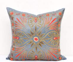 Suzani pillows, Blue Suzani Mavrigi Design Toss Pillow