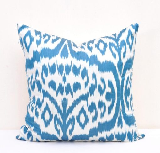 Blue White Ikat Pillow