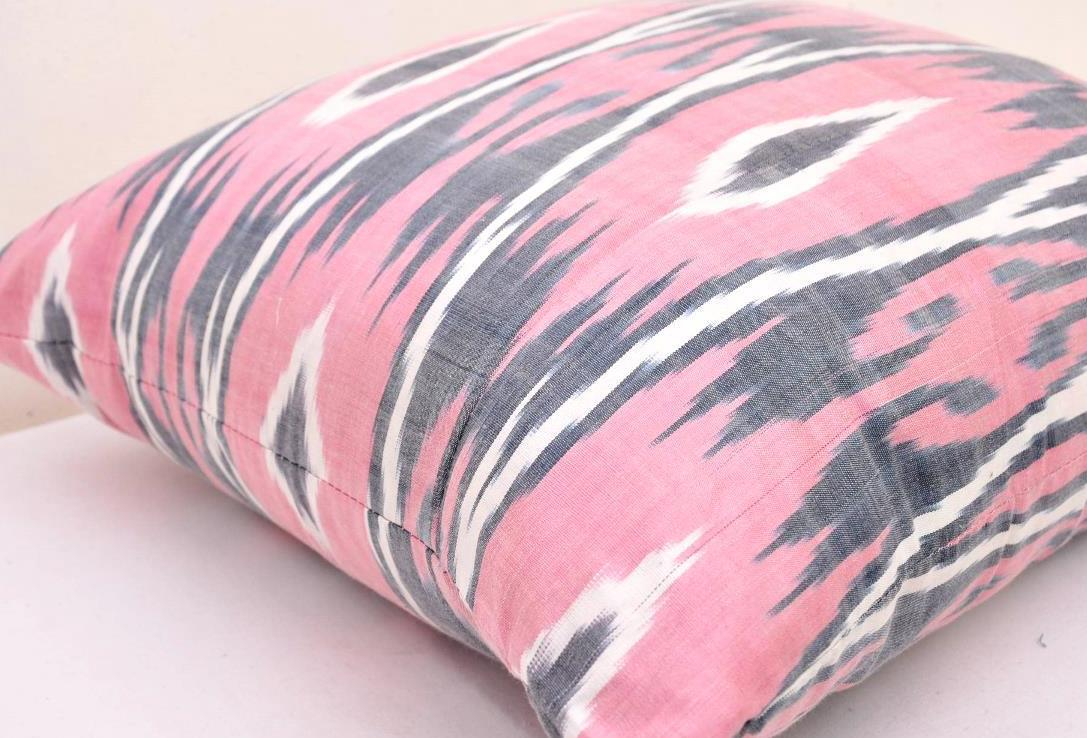 Light Pink Satin Throw Pillows : Light Pink silk ikat pillow Alesouk Grand Bazaar