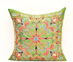 lime green pillow silk, Heaven Gardens Suzani Cushion Cover