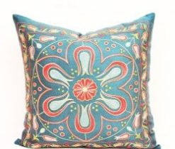 Blue Ottoman Tulips Moroccan Decor Pillow