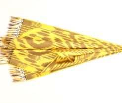 Yellow silk ikat scarf