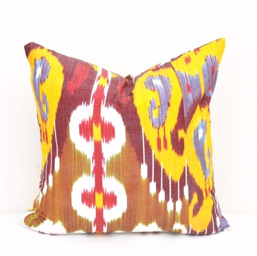 Pillow Yellow White Ikat