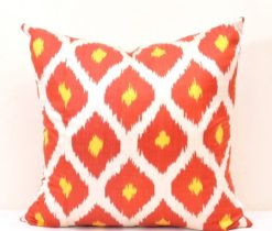 Orange Ikat Throw Pillow