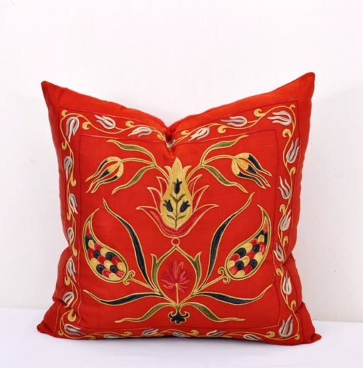 Uzbek suzani pillow, Hot Red Turkish Embroidered Suzani Pillow Cover
