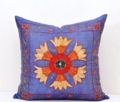 Blue suzani pillow, Navy Blue Modern Home Decor Accent Pillow