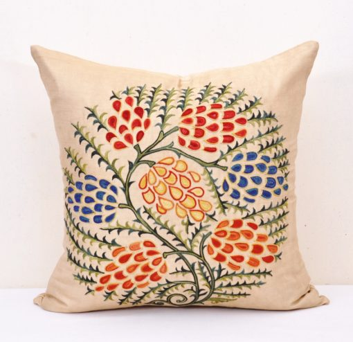 Eternal Love Tree Embroidery Suzani Pillow, Uzbek Grapes embroidery pillow