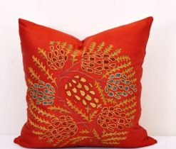 Red Suzani pillow, Square Suzani Throw Pillow Cushion