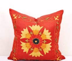 Red sun pillow, Modern Vibe Vintage Style Red Suzani Pillow