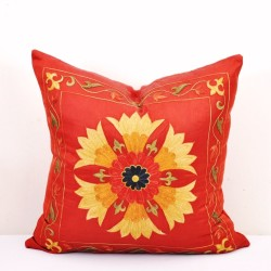 Red sun pillow