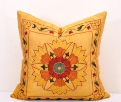 Sunflower Motif Stitched Yellow Suzani Pillow