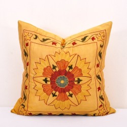 Yellow embroidery pillow