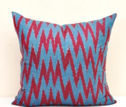Red Blue Chevron Pillow