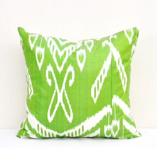 green ikat pillow