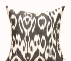 Black Decorative Ikat Throw Pillow