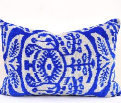 Blue Geometric Designer Throw Pillow, blue white velvet ikat pillow