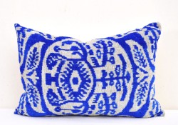 blue white velvet ikat pillow