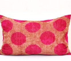 pink dots ikat cushion, Designer Velvet Pillow Case