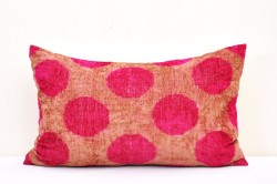 pink dots ikat cushion