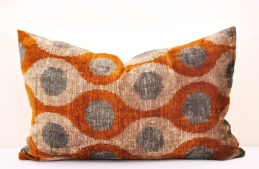 Polka Dot Designer Velvet Ikat Sofa Pillow