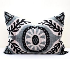 Decorative Velvet Lumbar Gray Pillow Case