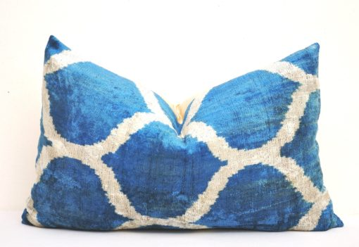 Best Seller Blue Ikat Velvet Pillow, blue velvet ikat pillow case