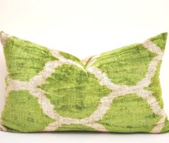 sea green pillow case, Green Home Decor Velvet Ikat Cushion