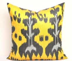 Yellow Ikat Accent Decor Pillow, yellow and black pillow