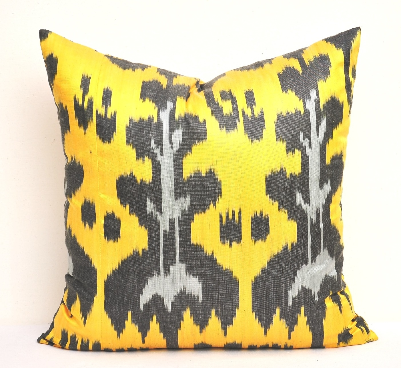 Yellow Silk Decorative Pillows : Yellow silk ikat throw pillow - Alesouk Grand Bazaar online shopping