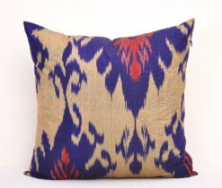Dark Indigo Blue Tan Silk Accent Pillow