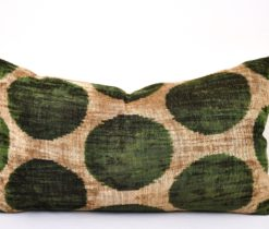 24x14 Green Polka Dot Velvet Pillow