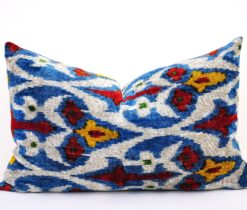 uzbek ikat pillow velvet, Queen Crown Design Silk Velvet Pillow